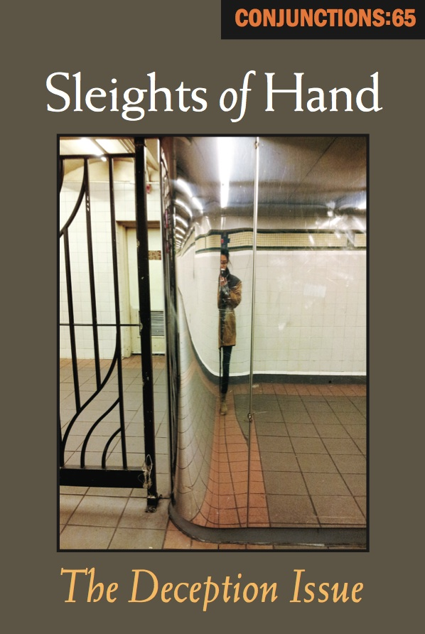 "Cover art by Desiree Des, ""Subway Wall,"" 2013, digital photograph, from the series ""Avoiding the Self-Portraits."" ©2015 Desiree Des; all rights reserved by the artist. [Release Reading for Conjunctions:65, Sleights of Hand: The Deception Issue]"
